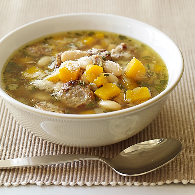 Photo of Turkey sausage, white bean and butternut squash soup by WW