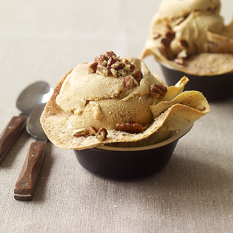 Photo of Pumpkin ice cream in homemade ice cream bowls by WW