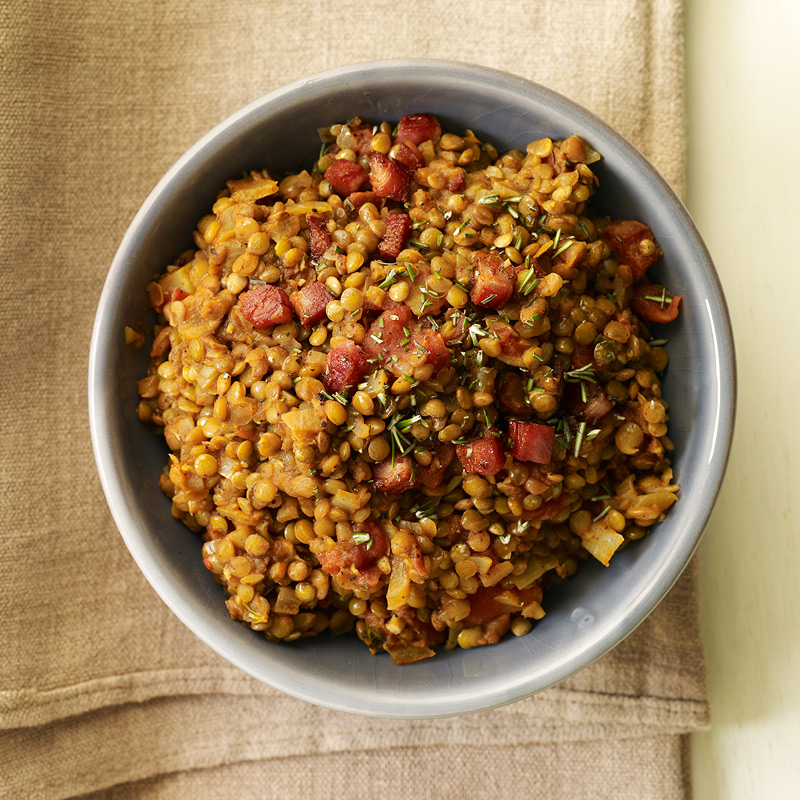 Photo of Warm lentil salad with pancetta, tomato, and rosemary by WW