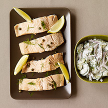 Photo of Poached salmon with cucumber dill sauce by WW