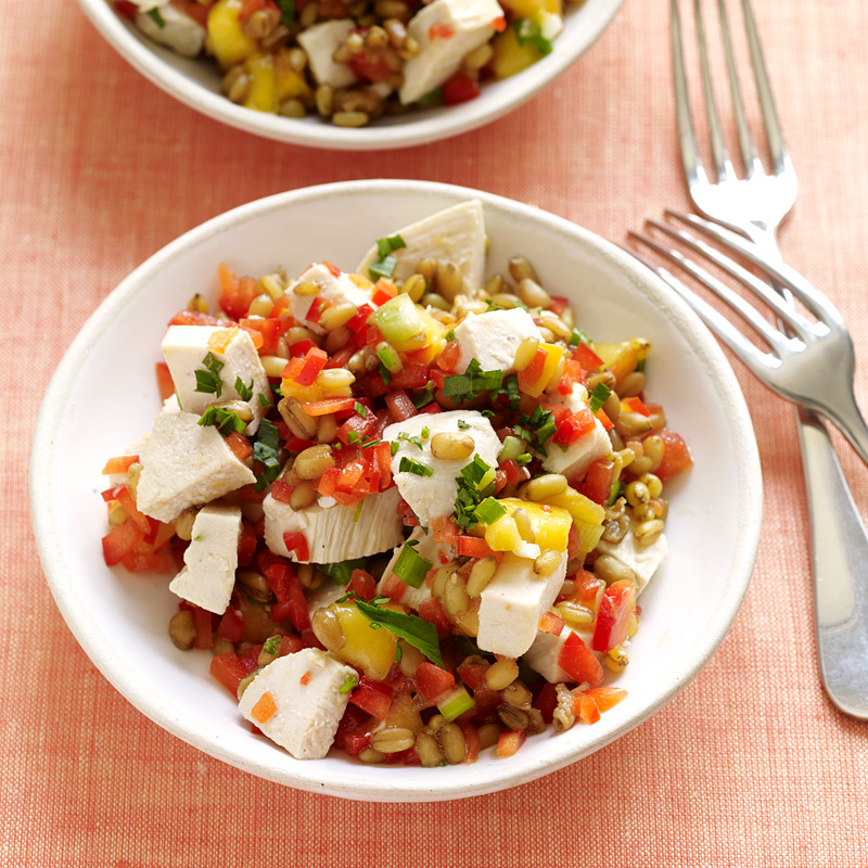 Photo of Freekeh salad with chicken, peaches and tarragon by WW