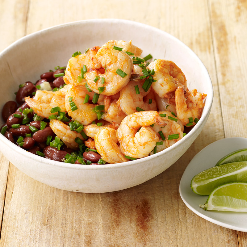 Photo of Shrimp over cumin-scented beans by WW