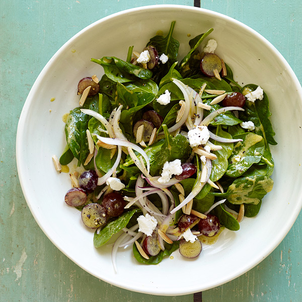... - Spinach Salad with Goat Cheese, Grapes and Honey Mustard Dressing