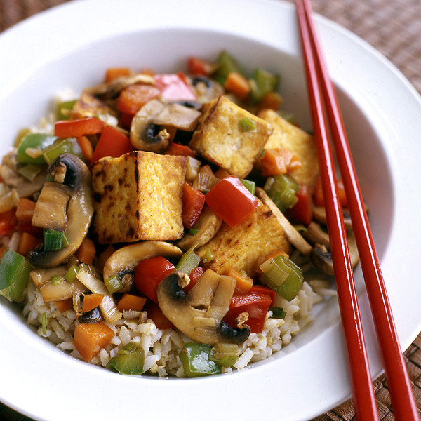 tofu stir fry with brown rice stir fried marinated tofu and mushrooms ...