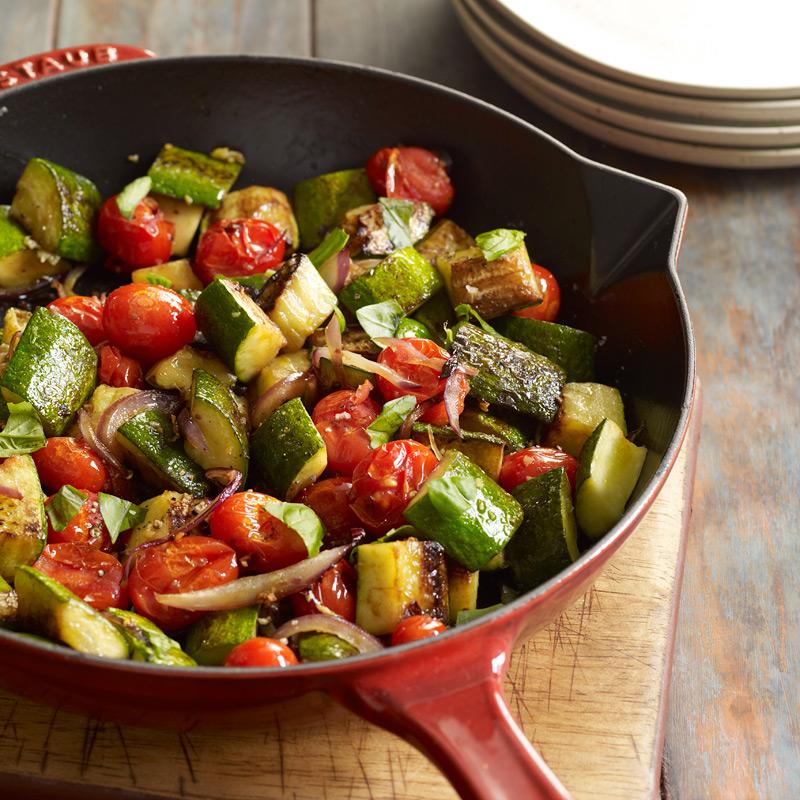 Zucchini, Red Onion And Tomato Sauté