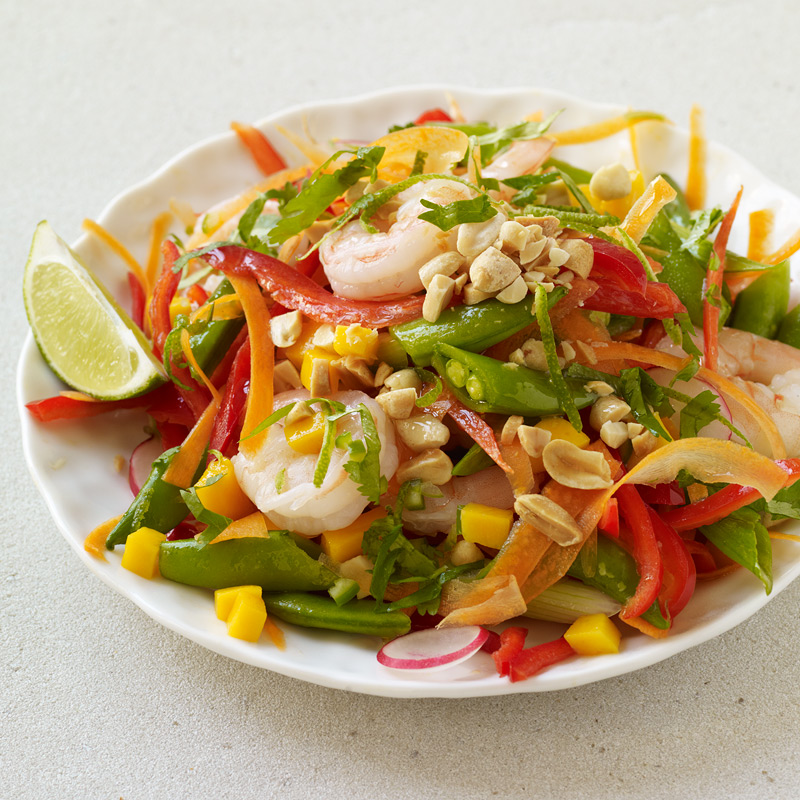 Photo of Malaysian shrimp and vegetable salad with mango, peanut, and lime by WW