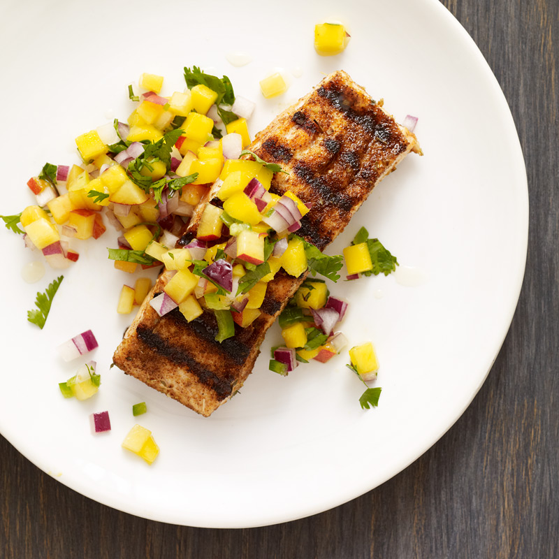 Photo of Chili-rubbed salmon with mango-peach salsa by WW