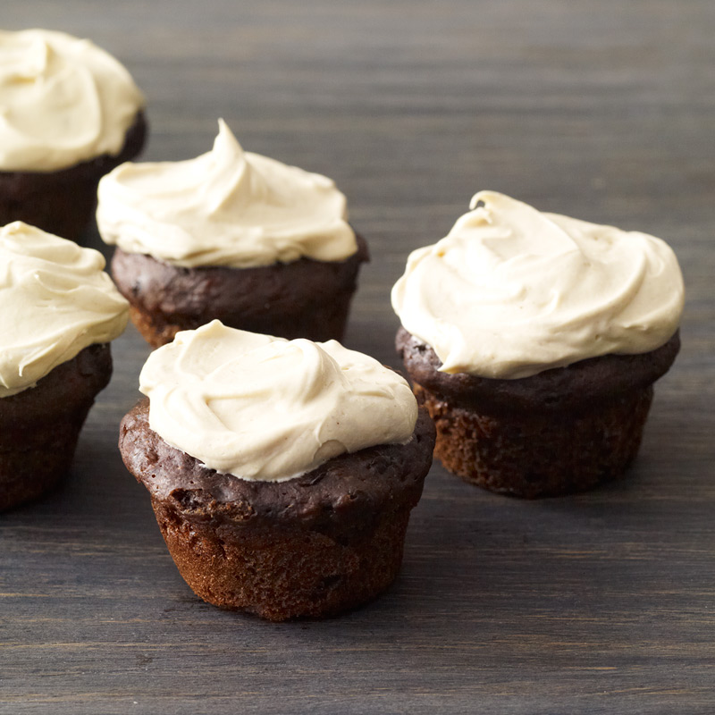 Photo of Mini chocolate-banana cupcakes with peanut butter frosting by WW