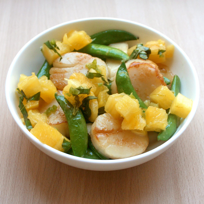 Photo of Stir-fried scallops and sugar snaps with pineapple salsa by WW