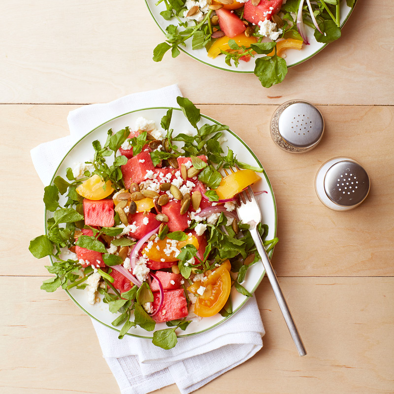 Photo of Watermelon and tomato salad with feta and pumpkin seeds by WW