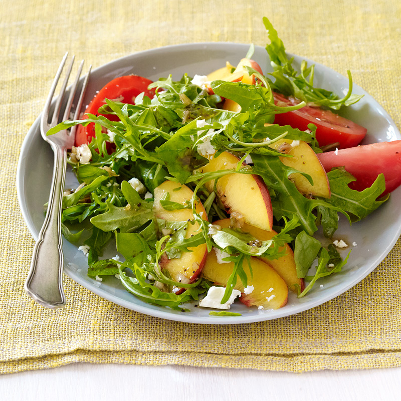Photo of Peach, basil, and tomato salad with balsamic vinaigrette by WW