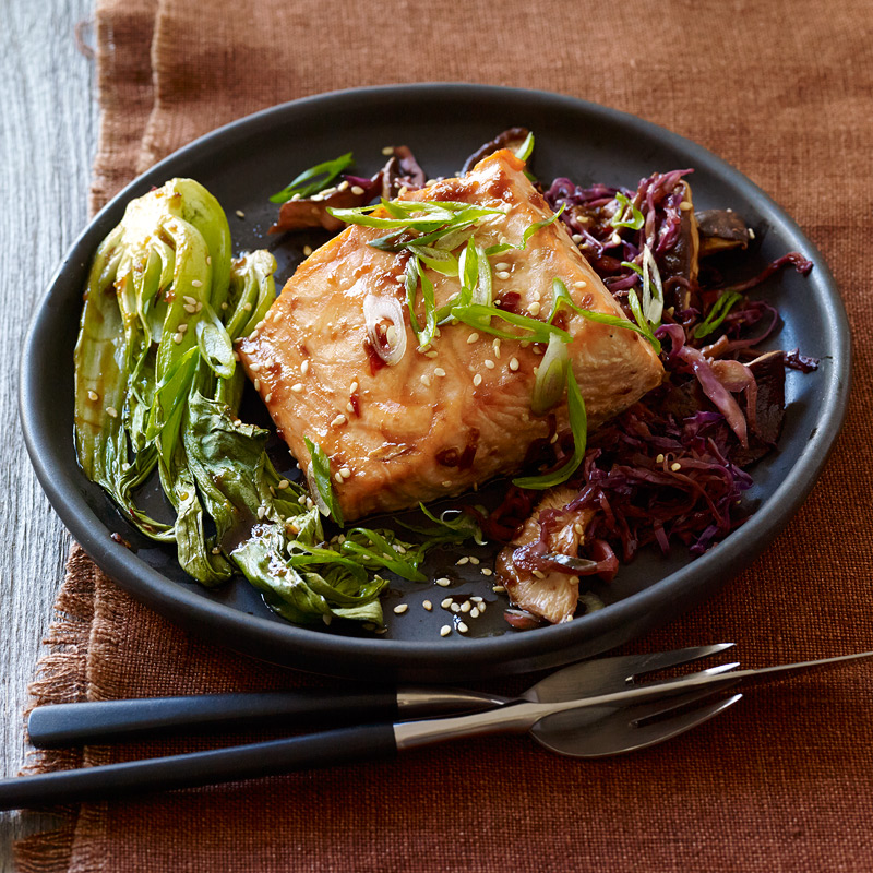 Photo of Asian-Spiced Salmon with Baby Bok Choy and Shiitakes by WW
