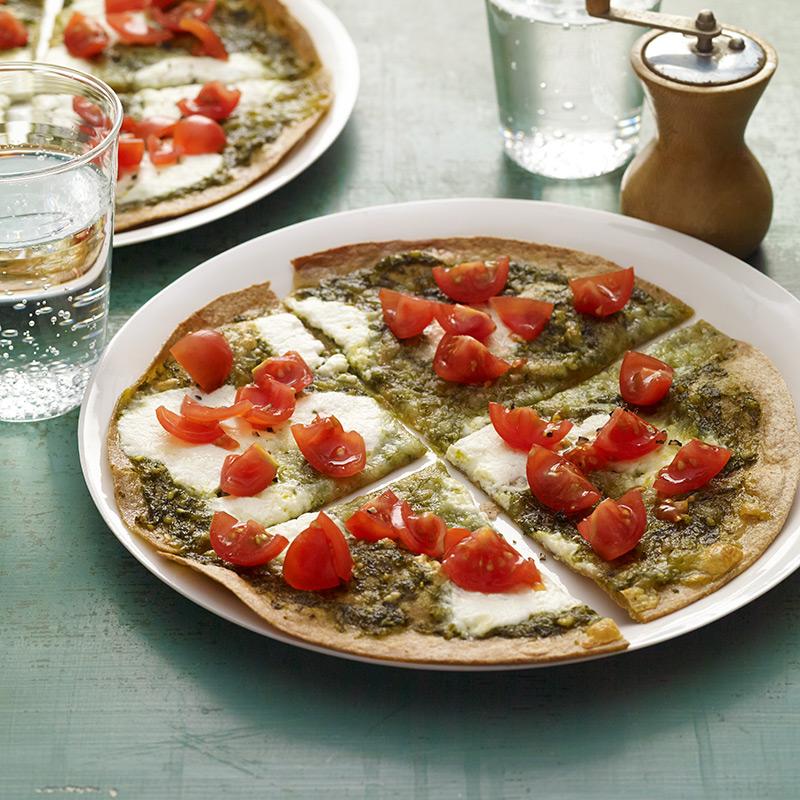Photo of Pesto, ricotta, and tomato tortilla pizza by WW