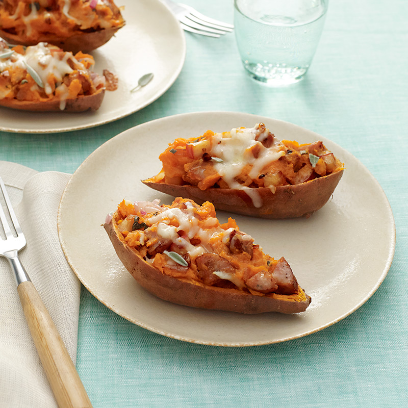 Photo of Sausage and apple-stuffed twice-baked sweet potatoes by WW