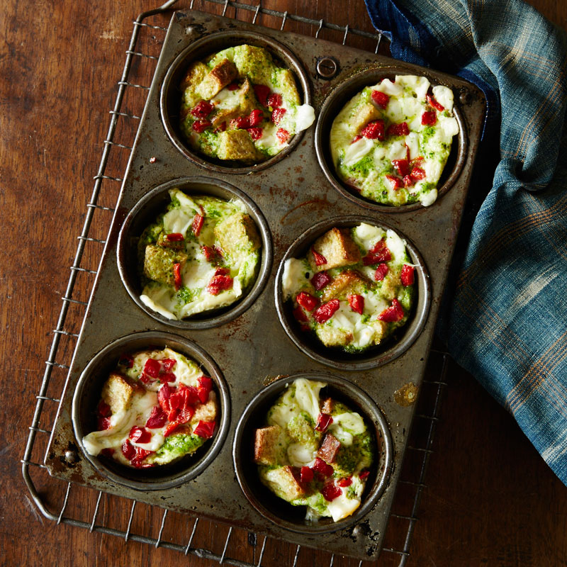 Photo of Individual roasted pepper and pesto breakfast stratas by WW