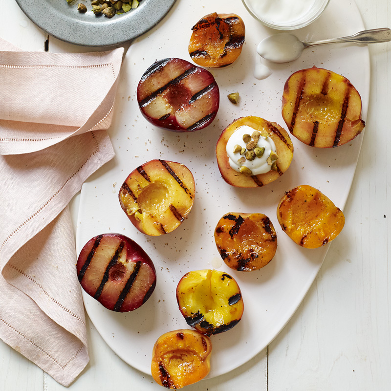 Photo of Grilled stone fruit with honeyed-yogurt and pistachios by WW