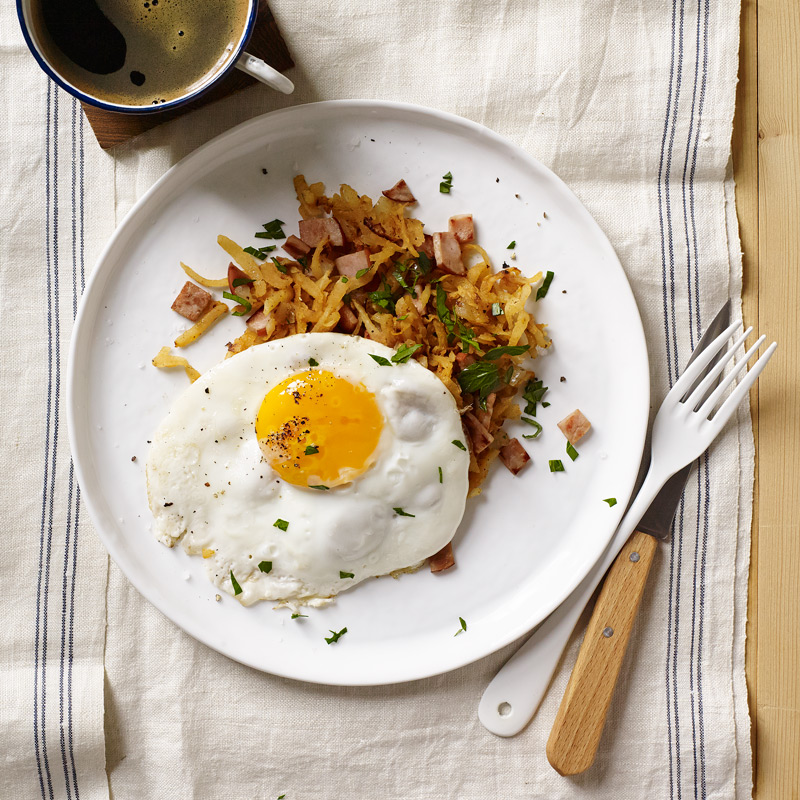 Photo of Jicama-ham hash browns with fried eggs by WW