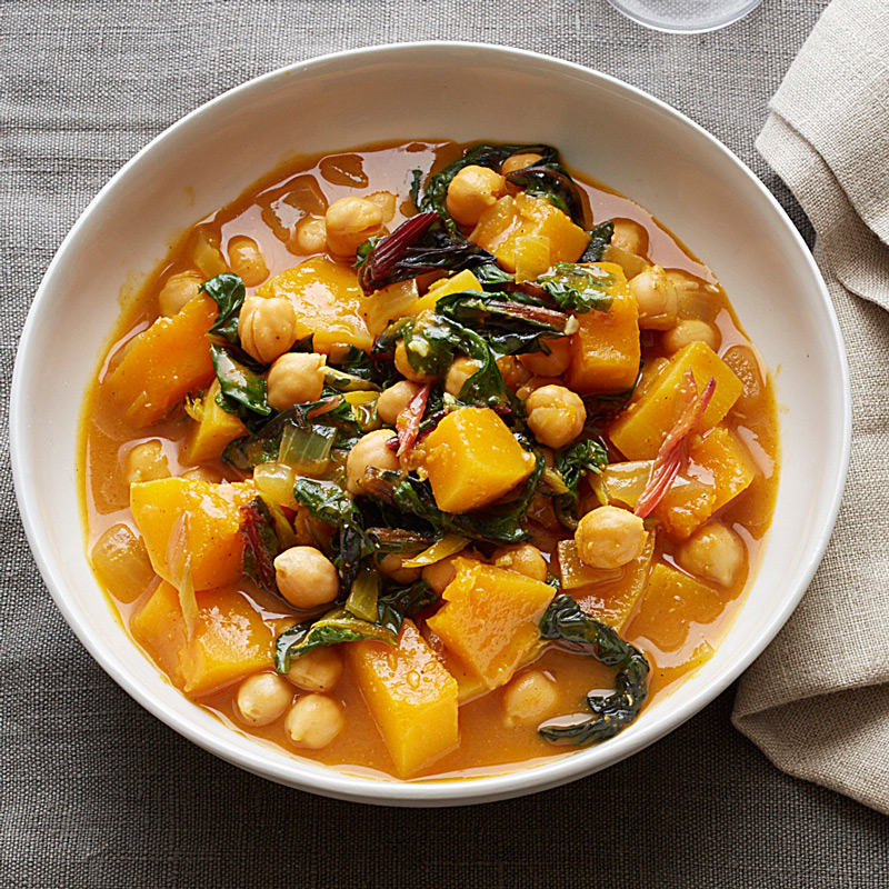 Photo of Delicata squash, chard and dhickpea curry by WW