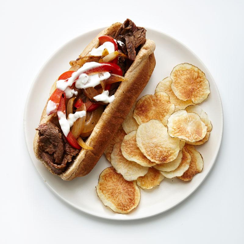 Photo of Steak sandwich with microwave potato chips by WW
