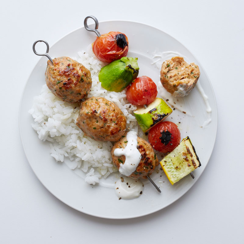 Photo of Vegetable and turkey kofta kebabs with garlic-yogurt sauce by WW