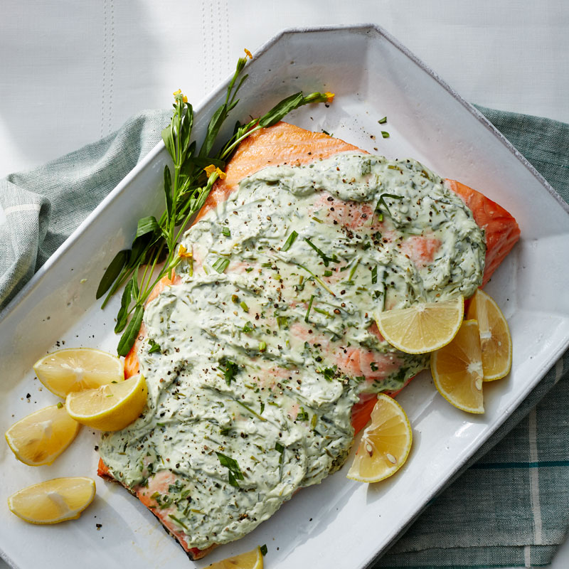 Photo of Herb-and-yogurt baked whole salmon fillet by WW