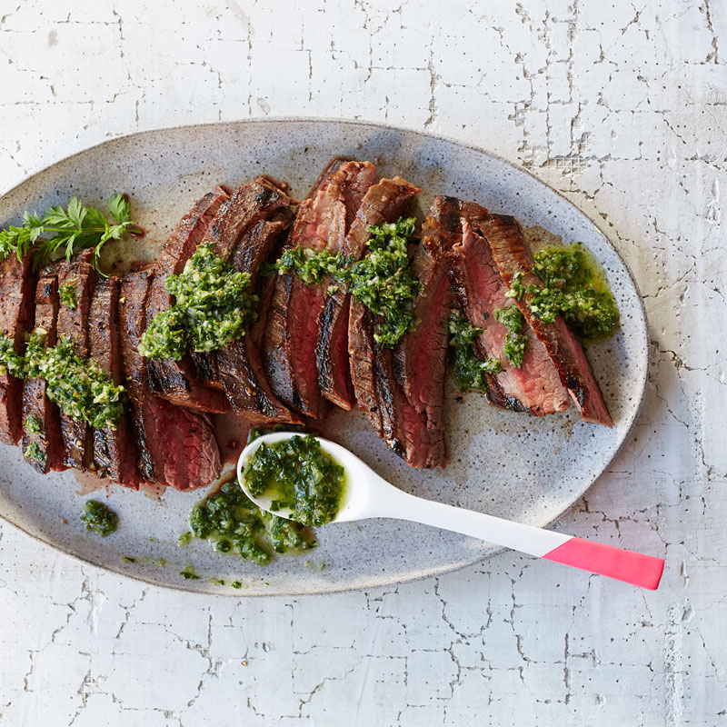 Photo of Grilled flank steak with carrot top salsa verde by WW
