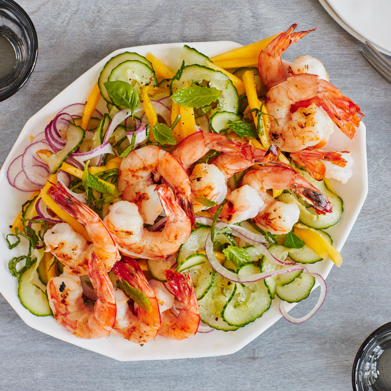 Photo of Asian mango-cucumber salad with grilled shrimp by WW