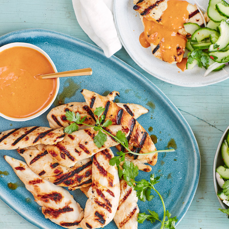 Photo of Chicken satay with peanut sauce and cucumber salad by WW