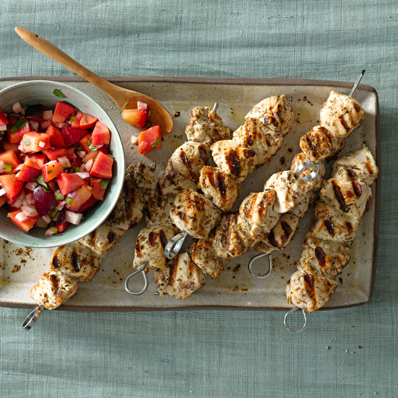 Photo of Grilled chicken kebabs with nectarine salsa by WW