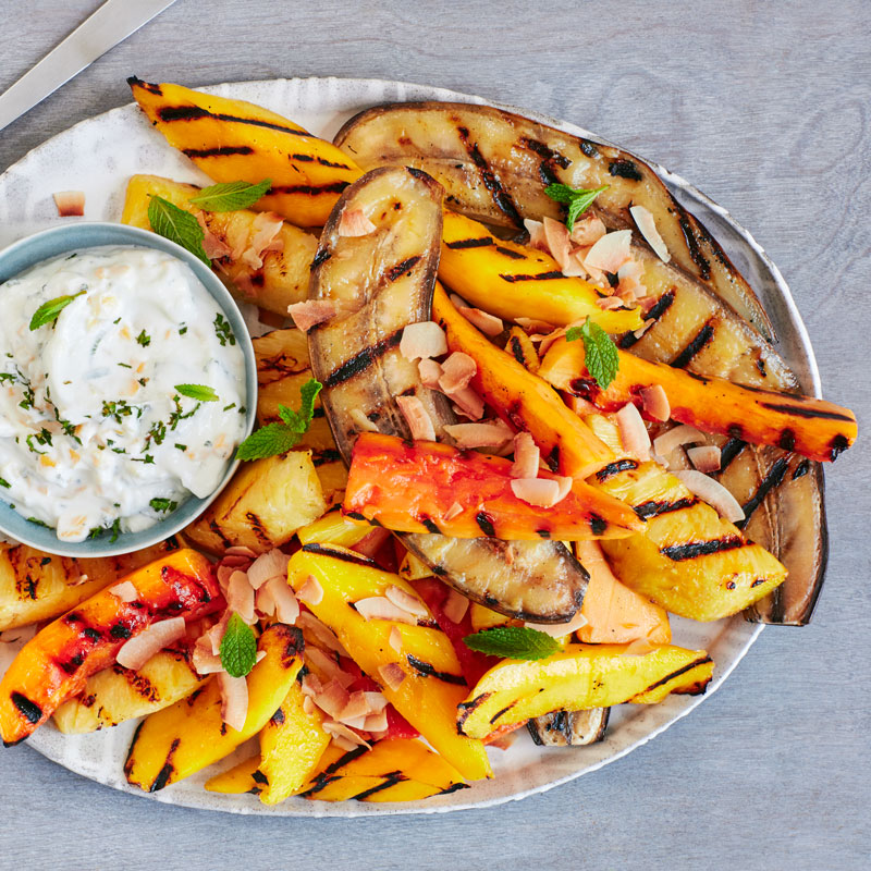 Photo of Grilled tropical fruit with creamy lime-mint and mango sauce by WW