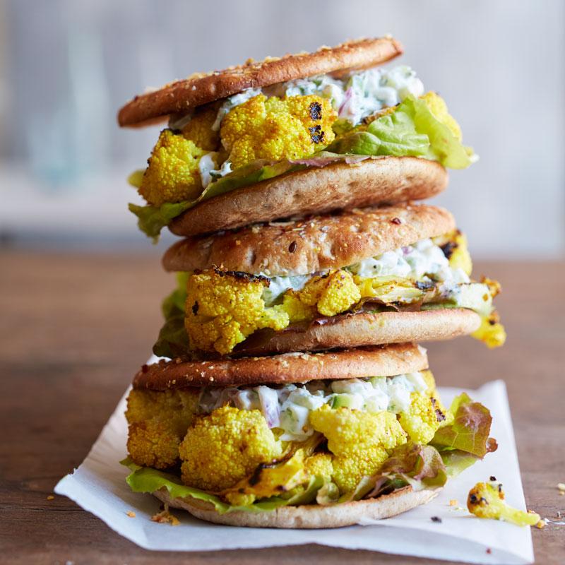 Photo of Tandoori-Grilled Cauliflower Burgers with Cucumber Raita Spread by WW