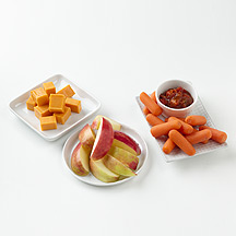 Photo of Carrots and Salsa, Cheese and an Apple by WW