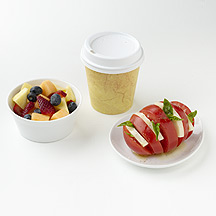 Photo of Latte, Fruit, and Caprese Salad by WW