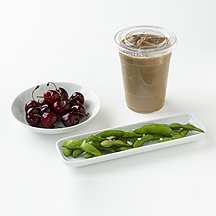 Photo of Edamame, a Latte and Cherries by WW