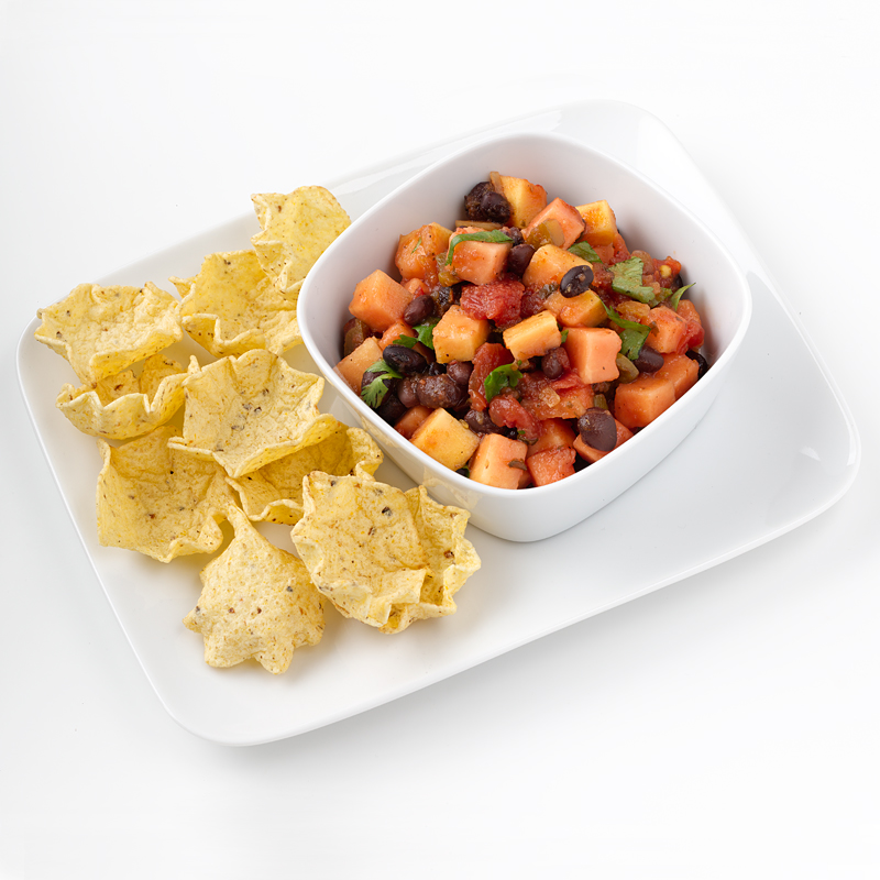 Photo of Black Bean-Papaya Salsa with Baked Chips by WW