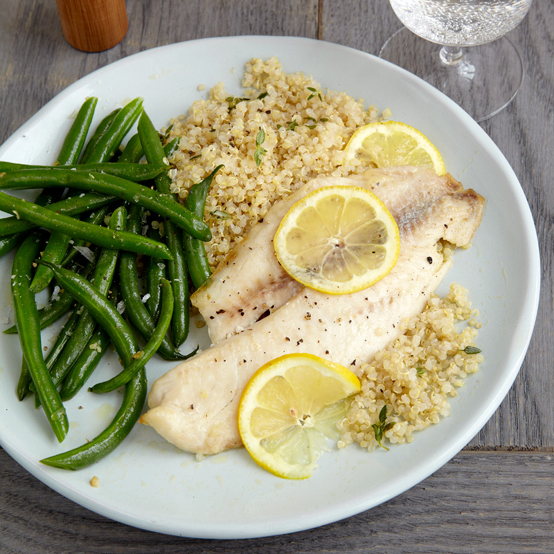 Baked tilapia with quinoa garlicky green beans meal for Sole fish nutrition
