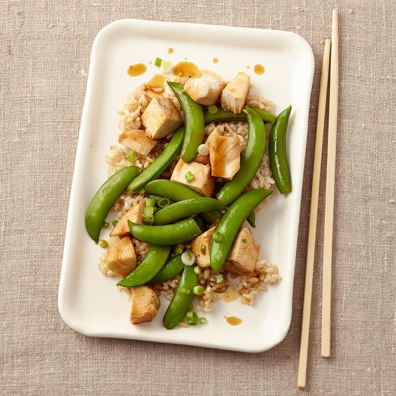 Photo of Teriyaki chicken with rice & snap peas by WW