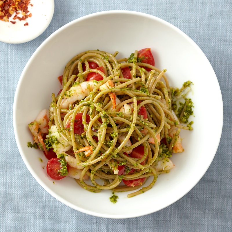 Photo of Spaghetti with Shrimp and Pesto   by WW