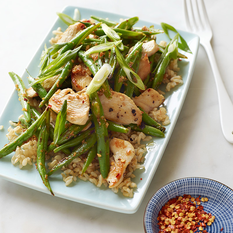 Photo of Chicken and String Bean Stir-Fry with Brown Rice by WW