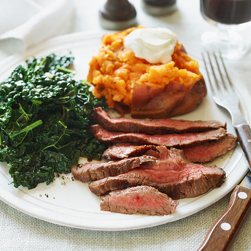 Photo of Flank Steak with Sweet Potato and Kale by WW
