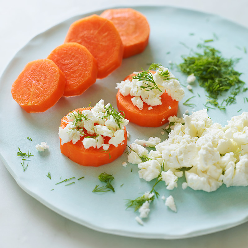"Photo of Carrot ""Crackers"" with Feta and Dill by WW"