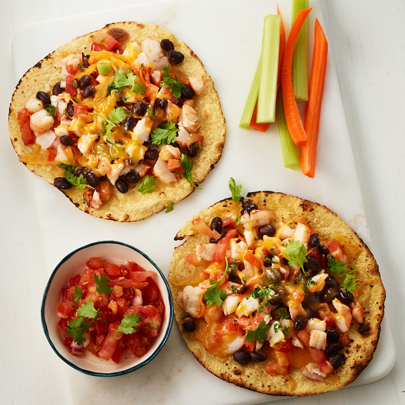 Photo of Shrimp and Black Bean Tostadas with Crudite and Salsa by WW