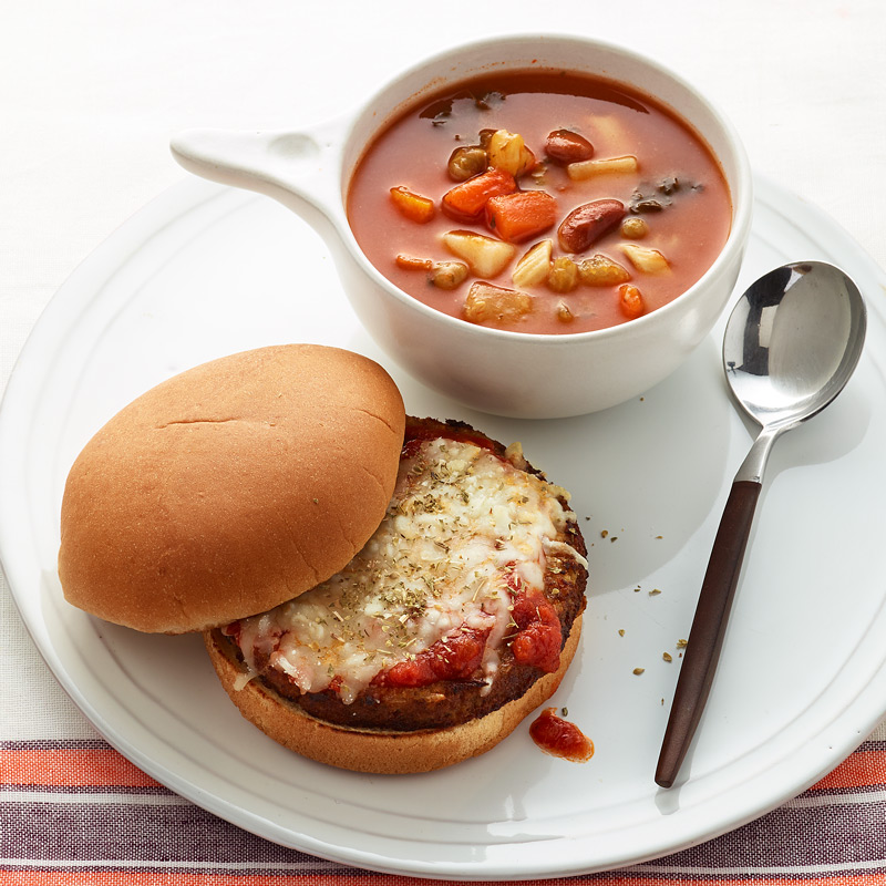 Photo of Veggie Burger and Canned Minestrone by WW