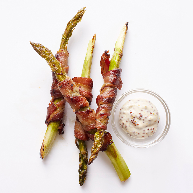 Photo of Bacon-Wrapped Asparagus with Dijon Dipping Sauce by WW