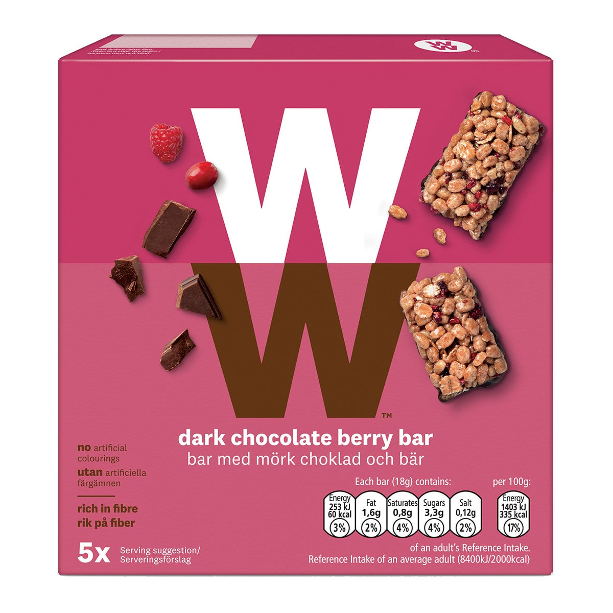 Box of 5, WW Dark Chocolate Berry Bar, wholemeal crispies, wheat flakes, sweet berry pieces, velvety dark chocolate, 2 SmartPoints values, suitable for vegetarians