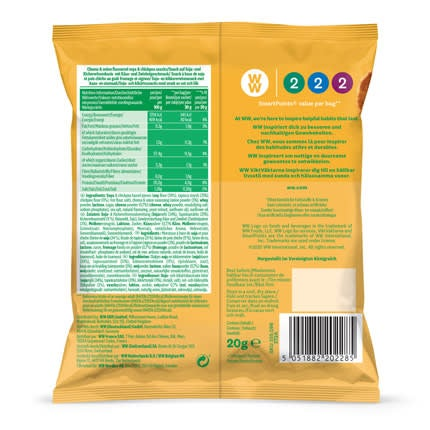 Cheese & Onion Savoury Snacks - back of pack
