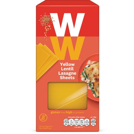 WW Yellow Lentil Lasagne Sheets, made from yellow lentil and brown rice flour, alternative to regular pasta sheets, gluten free, high in protein, suitable for vegans