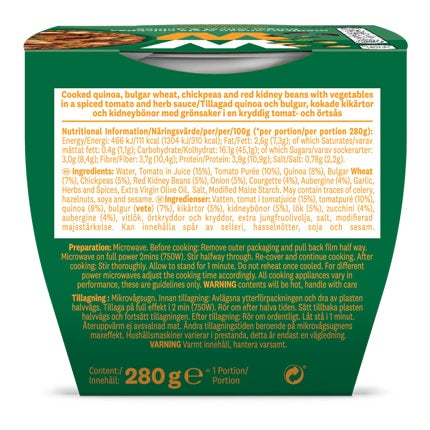 Mediterranean Style Chickpea Bulgar Wheat and Quinoa - back of pack