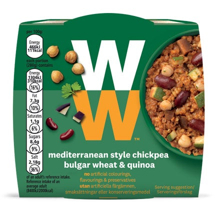 Mediterranean Style Chickpea Bulgar Wheat and Quinoa - top of pack