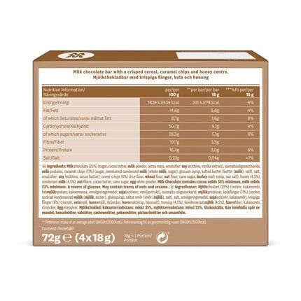 Chewy Chocolate Whip Bar - back of pack